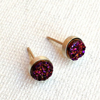 Tiny Purple Drusy Studs in Sterling Silver by RachelPfefferDesigns