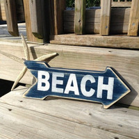 Beach Sign Arrow Nautical Coastal and Nursery Decor NAVY