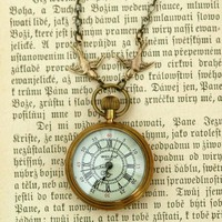 Brass Mechanical Pocket Watch Necklace RagTraderVintage.com