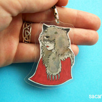Dark Red Riding Hood / Wolf Girl LARGE Cellphone Charm by sacari