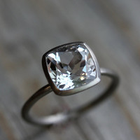White Topaz Cushion Solitaire in 14k Palladium by onegarnetgirl