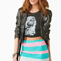 Candy Stripe Sequin Skirt
