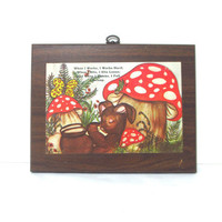 Vintage Mushroom & Animals Wall Hanging When I by ItchforKitsch