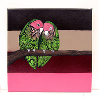 Love Bird Zentangle Original Painting Agapornis by MayhemHere
