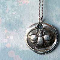 None of Your Bee's Wax Seal Necklace. Fine Silver Jewelry.
