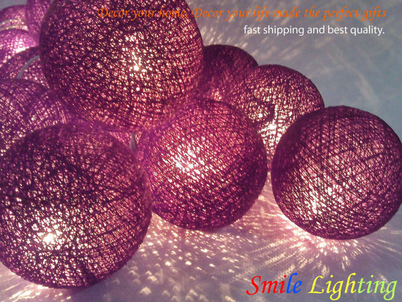 20 x Purple color cotton balls string light with 3 m. wire and adapter for room and party decoration