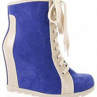 Nature Breeze CHATILLY-01 Two-Tone Sneaker Wedge Booties   Women Fashion Sneakers GREEN Bare Feet Shoes