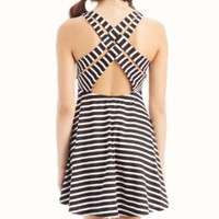 Amazon.com: strappy back striped dress LG BLACKWHITE: Clothing