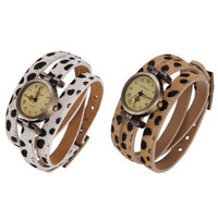 favwish  Vintage Lady Rome Number Leopard Leather Band Bracelet Wrist Watch
