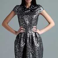 Boutique Hallie Embroidered Cap Sleeve Jewel Collar Dress