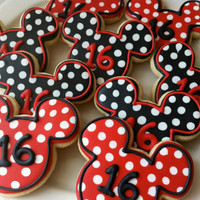 Decorated Mickey Mouse Silhouette Cookies with Polka Dots, Perfect for your child's Birthday Party Favors