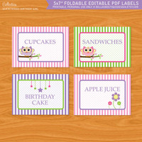 Printable Editable PDF Labels - Guess Whooo Birthday Girl or Baby Shower Party Decor, Owls, pink, green, purple
