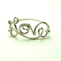 Love ring Sterling silver wire rings  cute script love by keoops8