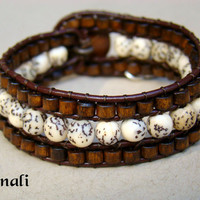 Sand Dune  Leather Bead Wrap Cuff Bohemian Bracelet by 0Minali0