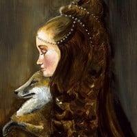 Rapunzel and her Fox Archival Art Print, rust, autumn