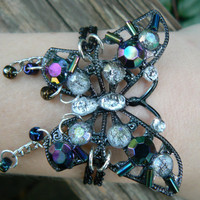 purple butterfly bracelet purple irridescent gypsy boho hippie gothic and fantasy style