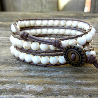 Beaded Leather 3 Wrap Bracelet with White Howlite Beads on Brown Leather