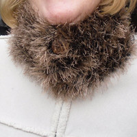 Ladies neckwarmer, handknit, chinchilla yarn, buttoned, fur collar, furry scarf, valentine, Mothers day