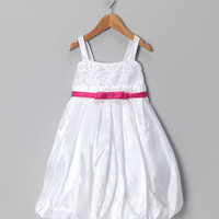 Chic Baby - White &amp; Fuchsia Bubble Dress - Toddler &amp; Girls 