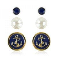 Navy Elements Earrings Set on Luulla