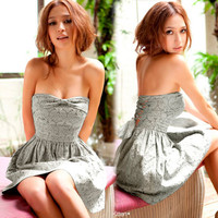 Elegant Tube With Pleated Skirt Bowknot Backless Female Cocktail Dress