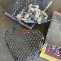 vintage inspired woven wire heart shaped box