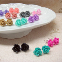 THREE PAIRS of Rose Stud Earrings  Choose Your par MadebyLinLin
