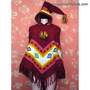Womens wool Poncho with Long Pointy Hood Hood HandWoven | Ethnic Clothing:Wool Ponchos | EcuadorianHands.com