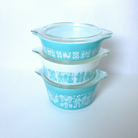 Set of 3 Pyrex Casserole Dishes in Turquoise by ItchforKitsch