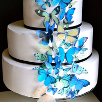 Blue and Green EDIBLE Butterflies Edible Butterfly by SugarRobot