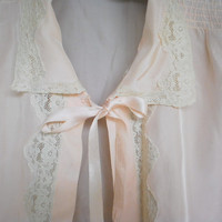 Vintage Evening Bed Jacket Peach Ice Rayon by VintageCarolina