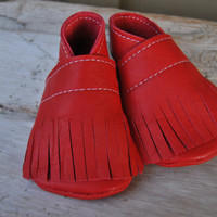 Leather Baby Booties with fringeRecycled Red by loveineverything