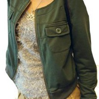 Allegra K Ladies Long Sleeve Round Neck Cropped Jacket Army Green XS