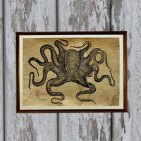 Octopus art print Old paper Antiqued decoration vintage looking