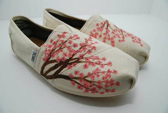 Cherry Blossom  CUSTOM TOMS SHOES by KellismCo on Etsy