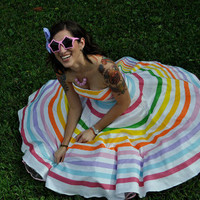 Rainbow Stripe Strapless Dress by Miss Brache