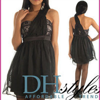 Min-4720-Black Chic Chiffon and Lace Toga Style Party Dress