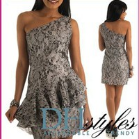 Ver-J-3123A-Gray Shimmer Lace One Shoulder Peplum Party Dress