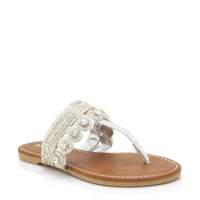 beaded-metallic-sandals ROSEGOLD SILVER - GoJane.com