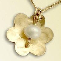Yellow gold filled flower and pearl necklace My by artisanfield