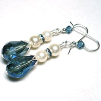 Montana Blue Crystal Teardrop and White Pearl .925 Sterling Earrings