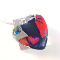 Fused Dichroic Glass Necklace  Heart Valentine  449
