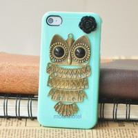 Green Retro Bronze Owl Black Flower Handmade Hard Case Cover For iPhone 4G 4S