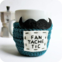 Mustache Mug Cozy Coffee Mug Tea Cup Cosy teal by KnotworkShop
