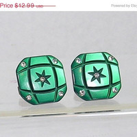 holiday sale Old Vintage Art Deco Cuff Links Green Luminous Rhinestones Early Plastic