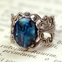 Blue Shell Filigree Ring by ragtrader on Etsy