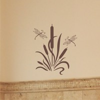 Wall Decal - Cattails with Dragonflies - Larger set Vinyl Wall Art