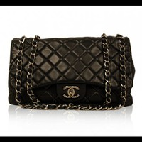 Chanel Black Quilted Leather Single Flap Bag