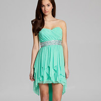 Sequin Hearts Strapless Beaded Hi-Low Dress 					 					 				 			 | Dillard's Mobile