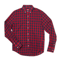 Slim Fit Button Down Shirt-Red Navy Gingham